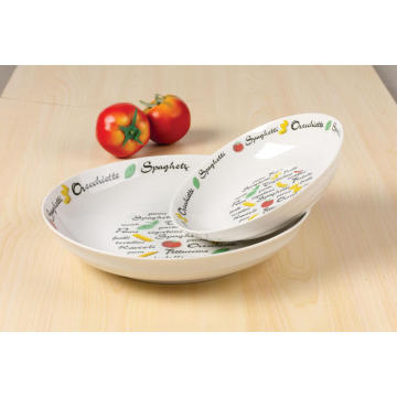 Porcelain decal soup plate 20cm salad bowl
